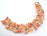 Vintage Vibrant Red, Peach And Pink Enamel Leaf Panel Bracelet By Jewelcraft.
